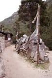 Mur en pierre de Mani - Népal Images libres de droits