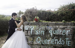Mur en pierre de mariage Photographie stock libre de droits
