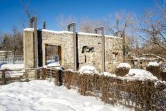 Mur en pierre de vieux moulin Photographie stock