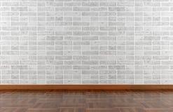 Mur en pierre et plancher de parquet blancs Images stock