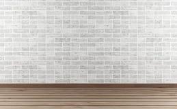 Mur en pierre et plancher en bois dur blancs Photos libres de droits
