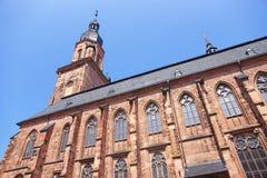Mur et flèche de cathédrale de Saint-Esprit à Heidelberg Photographie stock