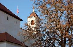Mur et tourelle extérieurs de château Photos stock