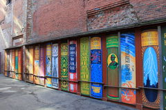 Mur extérieur du bâtiment, peint avec livres reliés, Boston, la masse, 2016 Images stock