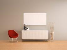 Mur gris avec la vie rouge de fauteuil pièce-intérieure Photos stock