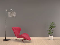 Mur gris avec le fauteuil rose sur la vie en bois de plancher pièce-intérieure Photographie stock libre de droits