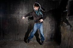 Mur grunge et homme Photographie stock libre de droits