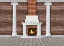 Mur intérieur classique avec la cheminée Photos stock