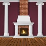 Mur intérieur classique avec la cheminée Photos libres de droits