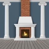 Mur intérieur classique avec la cheminée Image libre de droits