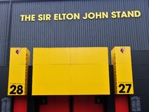 Mur lat?ral de Sir Elton John Stand, stade de Watford Club de Football, route de profession, Watford images stock