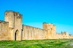 Mur médiéval de ville de ville d'Aigues-Mortes, France Image libre de droits