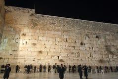Mur occidental (mur pleurant), Jérusalem la nuit Images libres de droits