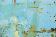 Mur peint par bleu rouillé en métal Photographie stock libre de droits