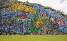 Mur préhistorique dans Viñales, Cuba Image libre de droits