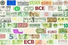 Mur principal de quatre devises du monde Images libres de droits