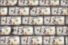 Mur réaliste des dollars Briques de concept d'art d'argent image libre de droits