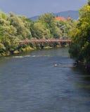 Mur River är ett skattskyldigt av Donauen Arkivbild
