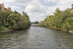 Mur river in Graz, Austria stock photo