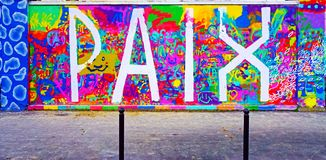 The Mur Rosa Parks painted with street art by famous muralists in Paris Stock Image
