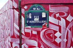 The Mur Rosa Parks painted with street art by famous muralists in Paris Stock Photography