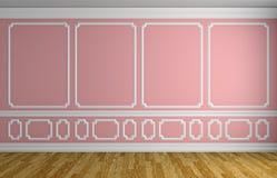 Mur rose dans la pièce vide de style classique Images stock