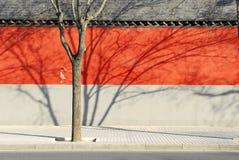 Mur rouge de frontière de sécurité de Pékin Image libre de droits