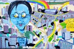 Mur Rousse de graffiti Photos stock