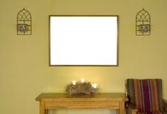 Mur vert avec le cadre vide image stock