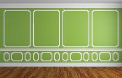 Mur vert dans la pièce vide de style classique Photo stock