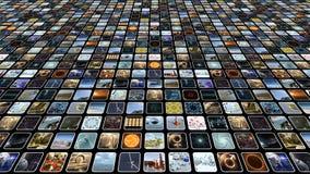 Mur visuel animé avec beaucoup de petites icônes sur des moniteurs Boucle-capable rendu 3d 4K clips vidéos