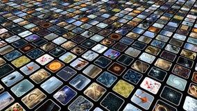 Mur visuel avec beaucoup d'icônes de media, diagonalement rendu 3d Images libres de droits