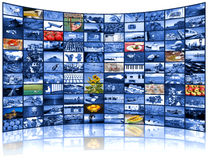 Mur visuel d'écran de TV Photographie stock libre de droits