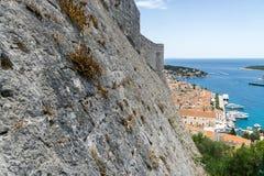Mura di cinta della città di Hvar Fotografie Stock Libere da Diritti