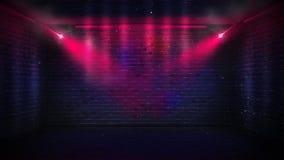 Mura di mattoni, raggi al neon ed incandescenza immagini stock