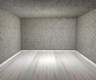 Mura di mattoni vuoti della stanza, pavimenti Fotografie Stock
