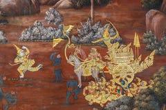 Mural έργα ζωγραφικής σε Wat Phra Kaew, Μπανγκόκ στοκ εικόνες με δικαίωμα ελεύθερης χρήσης