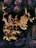 Mural έργα ζωγραφικής Ramayana, αλλοδαποί Θεοί μαχών και χίμαιρα στους τοίχους του παλατιού Μπανγκόκ, Ταϊλάνδη βασιλιάδων στοκ εικόνα με δικαίωμα ελεύθερης χρήσης