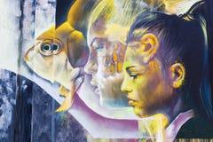Mural έργο τέχνης στο βήμα στο χώρο στο Αϊντχόβεν Στοκ Φωτογραφίες