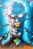 Mural έργο τέχνης στο βήμα στο χώρο στο Αϊντχόβεν Στοκ φωτογραφία με δικαίωμα ελεύθερης χρήσης