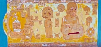 Mural απεικονίζοντας των Αζτέκων/των Μάγια οικογένεια & γονιμότητα στοκ φωτογραφία με δικαίωμα ελεύθερης χρήσης