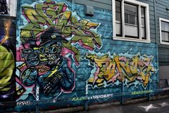 Mural εργασίες Σαν Φρανσίσκο, 13 αλεών Osaoe στοκ εικόνα