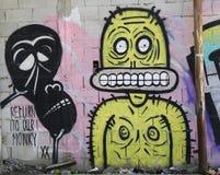 Mural τέχνη στη γειτονιά Florentin στο νότιο μέρος του Τελ Αβίβ Στοκ Εικόνα