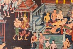 Mural τοίχος της Ταϊλάνδης στο ναό Στοκ Εικόνες