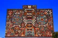 Mural. Facade of the principal library of the national university, in mexico city Royalty Free Stock Image