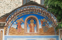 The mural above the entrance to the main temple of monastery, Bulgaria Stock Photography