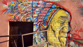 Mural amerindian. SIAULIAI LITHUANIA SEPTEMBER 19 2015: Mural amerindian in Siauliai is the fourth largest city in Lithuania, with a population of 133,900. From Stock Photo