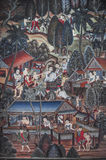 Mural of ancient Thai people's everyday life Royalty Free Stock Images