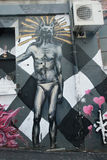 Mural art at AC/DC lane in Melbourne. Royalty Free Stock Photos