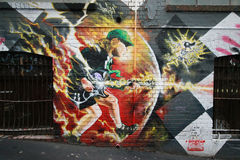 Mural art at AC/DC lane in Melbourne. Royalty Free Stock Images